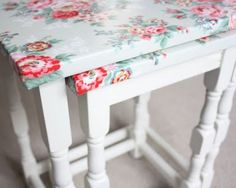 Cute table idea with paint and oil cloth!
