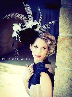 Black and White Oversized Headpiece Women Facinator Hat Women Statement Accessory Pheasant Feathers Ella Gajewska HATS