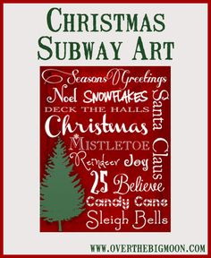 Christmas Subway Printable along with other free printables Christmas Subway Art, Christmas Signs, Christmas Art, Christmas Projects, Winter Christmas, Holiday Crafts, Holiday Fun, Christmas Ideas, Christmas Phrases