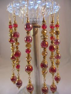 Red Gold Crystal Christmas Ornament Set by LaReineDesCharmes