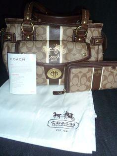 Coach Legacy Heritage Stripe XL Signature Satchel & Wallet  Khaki Mahogany Brown #Coach #Satchel