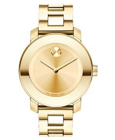 Movado Watch, Swiss Bold Gold-Tone Stainless Steel Bracelet 38mm 3600085 perfect!