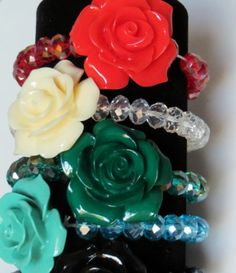 COWGIRL GREEN ROSE Flower Bracelet CRYSTAL BEAD WESTERN Hippie Countrygirl GYPSY our  prices are WAY BELOW retail! ALL JEWELRY SHIPS FREE! BAHA Ranch Western Wear www.baharanchwesternwear.com