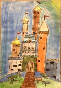 I have been drawing castles with the students this week. They trace over the lines with black crayon and then paint.   I have sparkle watercolor paints for this project