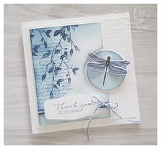 Blue Rose Paper Treasures: Dragonfly Garden Cards Stamping Up Cards, Flower Cards, Diy Cards, Homemade Cards, Making Ideas, Thank You Cards, Cardmaking, Birthday Cards, Dragonflies