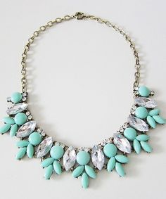 Mint & Crystal Statement Necklace