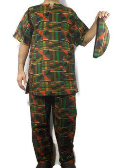 fa6998b81a1 Men Suit Ethnic 3 PCs Pant Suit African Dashiki Pant Set Kente Outfit Plus  Size