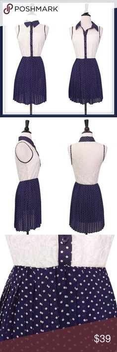 ModCloth Pleated Dress ➖BRAND: ModCloth ➖SIZE: Small ➖STYLE: Blue and white dress with a pleated skirt. The button up style top can be buttoned all the way up or just partially. ModCloth Dresses