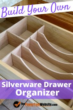 Build your own diy silverware drawer organizer. A great diy kitchen project to help get more space from your silverware drawer. Build your own diy silverware drawer organizer. A great diy kitchen project to help get more space from your silverware drawer. Unique Woodworking, Woodworking For Kids, Woodworking Toys, Easy Woodworking Projects, Diy Kitchen Projects, Diy Wood Projects, Silverware Drawer Organizer, Diy Kids Furniture, Built In Bookcase