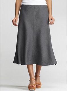 """31"""" Calf-Length Bias Skirt in Heavy Linen"""