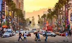 Photo about LOS ANGELES, CALIFORNIA - MARCH Traffic on Hollywood Boulevard at dusk. The theater district is famous tourist attraction. Image of people, district, angeles - 67963567 Hollywood Sign, Hollywood Walk Of Fame, Hotel Hollywood, Hollywood Boulevard, Hollywood Hills, Hollywood Stars, Santa Monica Los Angeles, Pier Santa Monica, Destinations D'europe