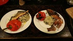 Grilled Branzino over spinach Parmesan couscous with cheese stuffed pepper.