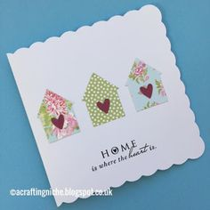 New Home Cards, House Of Cards, Card Making Inspiration, Making Ideas, Housewarming Card, Fabric Cards, Craftwork Cards, Button Cards, Handmade Birthday Cards