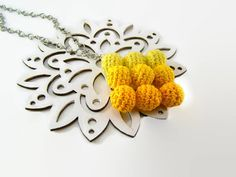 Yellow pendant necklace sunny jewelry simple by ElenaCrochetShop