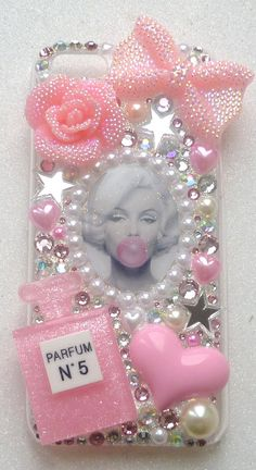 Marilyn Monroe  phone case i phone 4 4s 5 5C 5S case icon lolita bow rose logo pearls stars bubble gum pink sparkling rose pink crystals on Etsy, $40.41 AUD