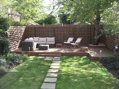 Garden and Landscape, : Cute And Awesome Terrace Garden Design With Minimalist Wooden Patio And Sofa Bed Also Glamorous Stone Path In Green Grass