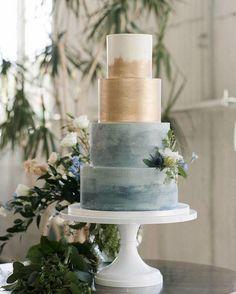 Blue and Metallic gold wedding cake