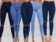 The Sims 4 Olivia Ripped Knee High Waist Skinny Leg Jeans Sims 4 Teen, Sims Four, Sims Cc, Sims 4 Mods Clothes, Sims 4 Clothing, Womens Ripped Jeans, Denim Jeans, Pelo Sims, Sims4 Clothes