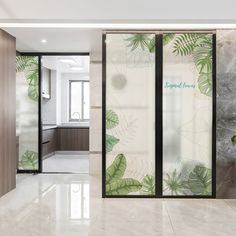 Chic Glass Partition Design Ideas For Your Living Room 24 Glass Sticker Design, Glass Film Design, Glass Partition Designs, Living Room Partition Design, Glass Office Partitions, Simple Ceiling Design, Outdoor Fireplace Designs, Office Interiors, Glass Door