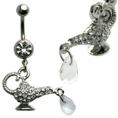 Multi Jewel Genie Lamp Dangle Belly Ring Surgical Steel