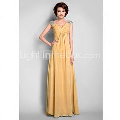 [USD $ 149.99]  A-line V-neck Floor-length Chiffon Mother of the Bride Dress