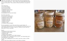 Make your own ranch, dry onion mix, and taco seasoning