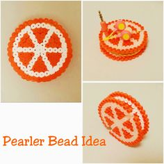 Pearler Beads Idea. an Orange earbud holder made of pearler beads