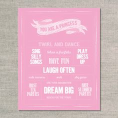 nursery prints & graphics: you are a princess - pink