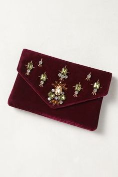 Jeweled Velvet Clutch