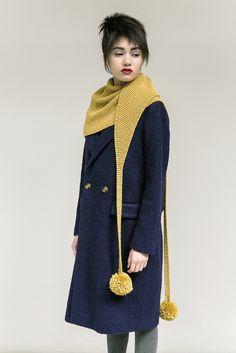 Ravelry: Skyland pattern by Martin Storey. Love the pompoms! But I hate making them Rowan Knitting Patterns, Easy Knitting, Knitting Designs, Knitting Projects, Knitted Shawls, Crochet Shawl, Crochet Lace, Knit Scarves, Scarfs