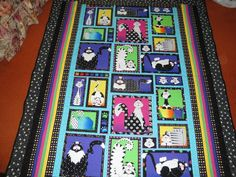 8-27-2012 Black & White Sherbet Cats Quilt made from a panel and donated to The Cat House on the Kings, Parlier, CA