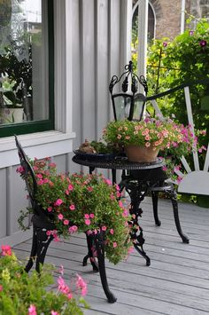Black wrought iron really sets off the flowers