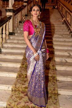 Rakul Preet Singh (aka) Rakul photos stills & images Indian Fashion Trends, Indian Designer Outfits, Saree Draping Styles, Saree Styles, Indian Dresses, Indian Outfits, Pattu Saree Blouse Designs, Saree Trends, Indian Attire
