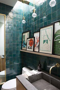 Turquoise tile bathroom | Eric Olsen Design