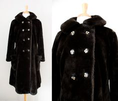 Vintage Long Faux Fur Coat / 1950s 60s Winter by CutandChicVintage, $35.00