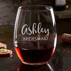 LOVE this cute Bridesmaid Gift idea! They are Personalized Stemless Wine Glasses that can be engraved with any name! These are the perfect bridal party gift for women to say thank you OR these would be the perfect thing to put in a bridesmaid box to ask your friends to be a bridesmaid!