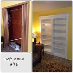 Transforming A Useless Closet Into Built In Bookcase