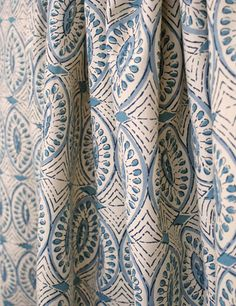block print fabric available at www.tonicliving.com Chambray and deep ocean blue and unbleached natural cream make a beautiful play on this Indian handprint cotton. Available at www.tonicliving.com #tonicliving #blockprint #lauraandkiran