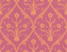 Hick's Moghul (66-9060) - Cole & Son Wallpapers - A delicate trellis design shown here in bright orange and pink. Ideal for a striking feature wall. Please order a sample for true colour match.