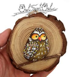 Unique Funny Owl Painted on a Sea Rock in a Tree от owlsweetowl