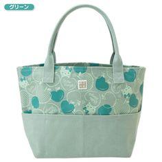 Hello Kitty 40th Kurashiki Hanpu Canvas Tote Bag Green SANRIO Made in JAPAN
