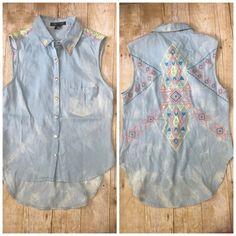 Aztec denim sleeveless button down This is new it was never worn super cute for summer with detailing on collar shoulders and back would look adorable knotted off in the front Love Culture Tops