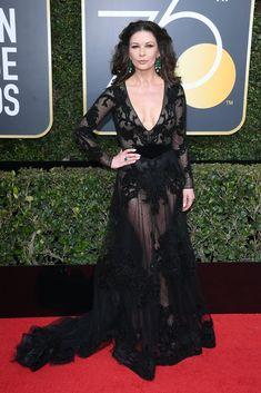 Catherine Zeta-Jones in Zuhair Murad - 2018 Golden Globes (Jan. Golden Globe Award Winners, Catherine Zeta Jones, Red Carpet Looks, Red Carpet Dresses, Golden Globes, Classy Women, Red Carpet Fashion, Fashion Beauty, Celebrity Style