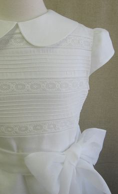 Handmade Linen First Communion Dress  Mary by embroideredheirlooms, $365.00