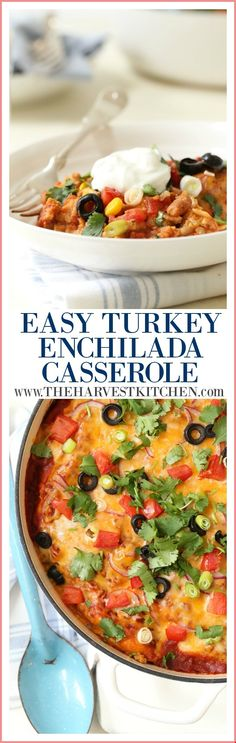 This Easy Turkey Enchilada Casserole is loaded with ground turkey, corn, pinto beans, tortillas and an easy homemade enchilada sauce. This delicious stacked enchilada casserole recipe is sure to be a hit at your dinner table! Turkey Enchilada Casserole, Ground Turkey Casserole, Turkey Enchiladas, Clean Eating Recipes, Cooking Recipes, Budget Recipes, Eating Healthy, Healthy Eats, Healthy Foods