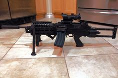 Ruger 10/22 .22LR modded inside a softair M249 SAW  chassis