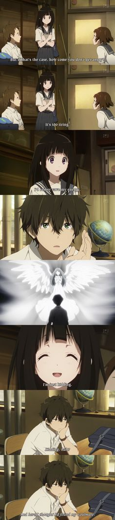 Chitanda is almost Oreki Hotarou's soulmate, lol. Hyouka