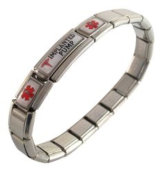Implanted Pump Medical ID Alert Italian Charm Bracelet >>> Check this awesome product