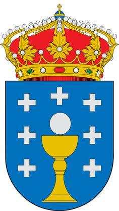 Escudo de Galicia - España. Es una comunidad autónoma española, situada al noroeste de la Península Ibérica formada por las provincias de La Coruña, Lugo, Orense y Pontevedra. Geográficamente, limita al norte con el mar Cantábrico, al sur con Portugal, al oeste con el océano Atlántico y al este con el Principado de Asturias y Castilla y León
