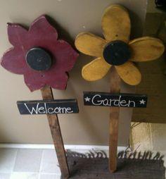 Spring Grove General Store- Wood Flower yard stakes...$10.95 each